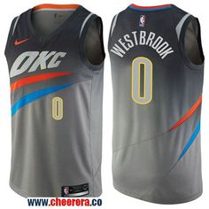 8ef6d160 Men's Nike Oklahoma City Thunder #0 Russell Westbrook Gray NBA Swingman  City Edition Jersey Ausbilder
