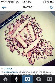 Lantern with pretty scrolls Stomach Tattoos, Leg Tattoos, Body Art Tattoos, Lamp Tattoo, I Tattoo, Lotus Tattoo, Tattoo Sketches, Tattoo Drawings, Neo Traditional Tattoo