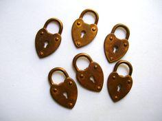 Oxidized Brass Locks with Key Hole - Brass Stamping - Steampunk Brass Lock by BohemianGypsyCaravan