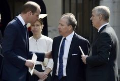 Prince William Photos Photos - Prince William, Duke of Cambridge, David Armstrong-Jones and Prince Andrew, Duke of York speak as they leave a Service of Thanksgiving for the life and work of Lord Snowdon at Westminster Abbey on April 7, 2017 in London, United Kingdom. - Service Of Thanksgiving For Lord Snowden