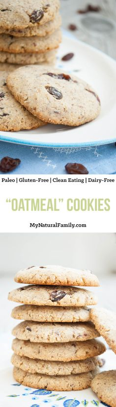 """Oatmeal"" Cookies Recipe {Paleo, Clean Eating, Gluten Free, Dairy Free} - these are chewy and soft and healthy. I eat them for snacks all the time!"