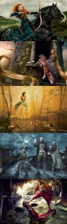 Disney Dream Portraits 2014 by Annie Leibovitz (Jessica Chastain as Merida, Taylor Swift as Rapunzel, Jennifer Hudson as Princess Tiana, Jack Black, Will Ferrell, and Jason Segel as the Hitchhiking Ghosts from the Haunted Mansion and Russell Brand as Captain Hook).
