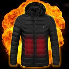Coat heating system, a jacket that heats up, intelligent heat control jacket, you can select the USB heated outdoor vest or Men Women Long Sleeve Cotton Electric Heating Jacket.