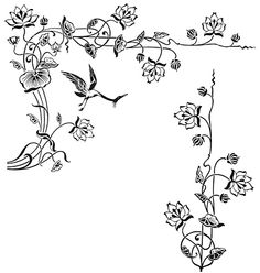 Antique Floral Frame Engraving Vector 144870
