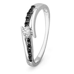 Promise Rings Simple | 10KT White Gold Round Diamond Black And White Bypass Promise Ring 16 cttw * Want to know more, click on the image. Note:It is Affiliate Link to Amazon.
