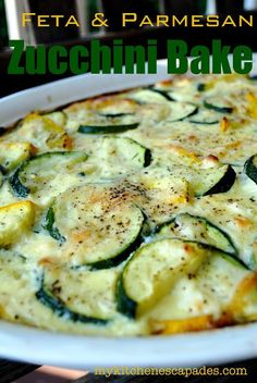 This is a great way to use extra zucchini and squash from your garden! Loaded with feta and parmesan cheese. Makes a great low carb, gluten free vegetarian side dish
