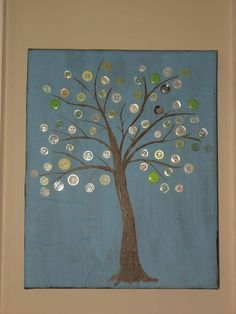 Blue button tree art on 8  x 10  wrapped canvas  Great by durkina, $20.00