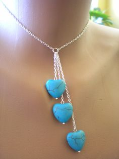 Turquoise Necklace.Three Heart Necklace.Gemstone Necklace.Romantic Necklace. Handmade Necklace.Designer Jewelry.. $20.00, via Etsy.