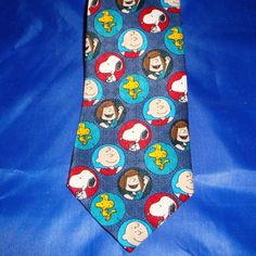 Peanuts Charlie Brown Gang Circle of Friends Tie Dark Blue Polyester Made USA #Peanuts #NeckTie