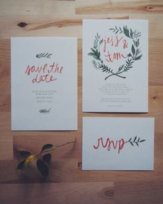 floral wreath bohemian wedding invitation // THE OLIVE // olive green and orange…