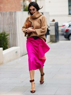 wedding guest outfits: with a statement skirt and a cashmere jumper you can't go wrong