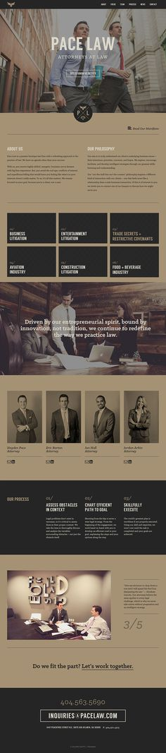One pager for Pace Law. Color palette is so-so, but fitting for brand, and rare to see such a dope law firm site. Badassery on the regal tip.