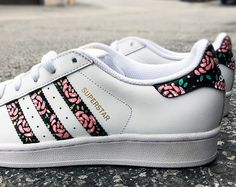 best service 38be0 0dc69 Custom Adidas Superstar for men and women, Adidas custom Hand Painted floral  design, Unisex sizes, Adidas superstar, Original
