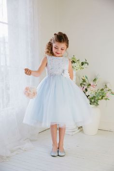 Flower Girl Dress Glamorous Lace tulle Dress with Flower BeltLight Blue Party Dress Special Occasion Dress - Flower girl dresses - Girls Holiday Dresses, Girls Special Occasion Dresses, Girls Dresses Online, Dress Online, Girls Party Dresses, Fall Dresses, Long Dresses, Formal Dresses, Pretty Dresses