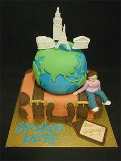 Sue Harrison's Amazing Cakes - Novelty Cakes (Sydney) Globe and suitcase cake.  www.sueharrisonsamazingcakes.com.au
