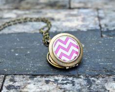Chevron Locket Necklace Pink Chevron. Chevron by Lizabettas