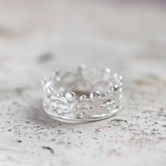 Silver crown ring - romantic jewelry, princess ring