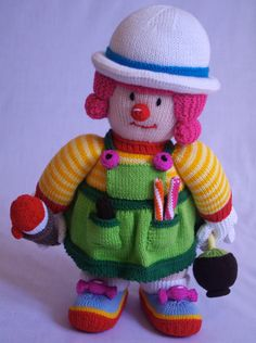 Young Sweetie Knitted Clown Red Nose Gang by PipisKnittedCrafts ♡