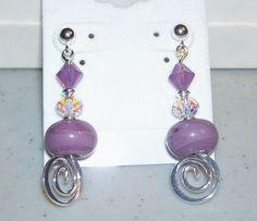 Plum Perfect Silver Dangle Earrings by mommazart on Etsy, $14.00