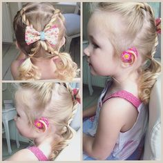 little girl's hair-do with hearing aids