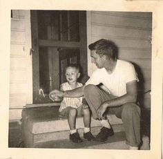 Antique Vintage Photograph Dad with Little Boy Holding Sparkler on Front Porch