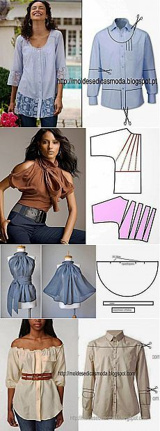 New Sewing Clothes Refashion Remake Blouses 41 Ideas - Bricolage Kleidung Upcycle Diy Clothing, Sewing Clothes, Clothing Patterns, Dress Patterns, Sewing Patterns, Clothes Refashion, Refashioning Clothes, Dress Sewing, Men's Shirt Refashion
