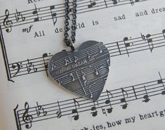 Customized Silver Sheet Music Necklace with Rolo Chain. Because every serious couple has their song :) Music Necklace, Music Jewelry, Dog Tag Necklace, Jewelry Box, Bridal Necklace, Jewelry Ideas, I Love Music, Music Is Life, Take My Money