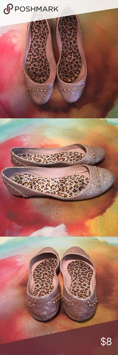 Steve Madden - Rose Gold Glitter Flats With Studs Steve Madden - Rose Gold Glitter Flats With Gold Studs - Size 8.5 - Cheetah Print Interior is Removable Insole Steve Madden Shoes Flats & Loafers