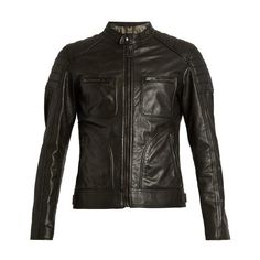 Belstaff Weybridge waxed-leather biker jacket ($1,393) ❤ liked on Polyvore featuring men's fashion, men's clothing, men's outerwear, men's jackets, black, mens slim fit motorcycle jacket, mens quilted leather biker jacket, mens leather motorcycle jacket, mens slim jacket and mens waxed jacket