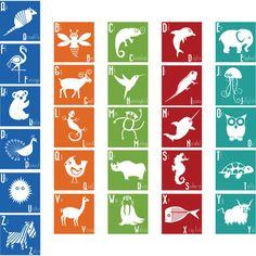Animal ABC Squares wall vinyl decals Art Graphics Stickers. $65.00, via Etsy.