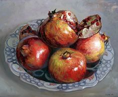 Pomegranates in Plate - Ismail Acar, 2005 Turkish , oil on canvas, 1210 x 112 cm. Still Life Drawing, Painting Still Life, Still Life Art, Pomegranate Art, Vegetable Painting, Fruit Painting, Fruit Art, Fruit And Veg, Kitchen Art