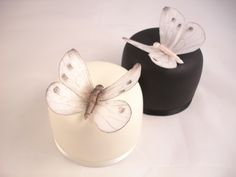 Black and white butterfly individual wedding cakes with rice paper butterflies