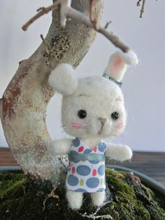 Milka, little bunny needle felted by MJ Crafts