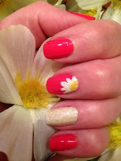 May Flower Nail Art - Daisies on bright pink nails with a textured accent nail. So fresh! Inspired by a pin credited to www.nailsss.com/colorful-nail-designs/2/, we smile for style.