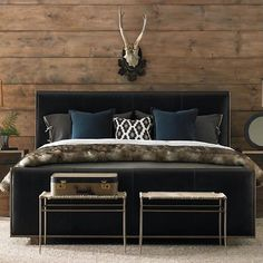 Masculine sensibilities combined with a modern aesthetic provide the furniture pieces of the Manhattan Leather Bedroom with enviable style. Brown Leather Bed, Leather Bed Frame, Leather Sofas, Online Furniture, Home Furniture, Furniture Design, Outdoor Furniture, Antique Furniture, Modern Loft