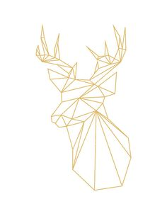Geometric Deer Gold Deer Geometric Animal by happybearprints