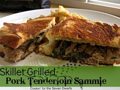 Skillet Grilled Pork Tenderloin Sammies recipe from Cookin' For the Seven Dwarfs & a Cast Iron Skillet Giveaway!