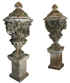 French 1950-60s stone urns