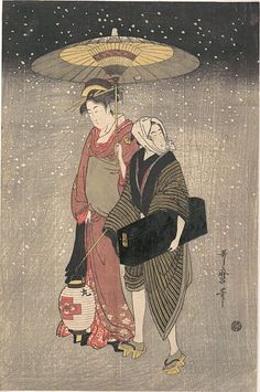 Geisha on a Snowy Night by Utamaro. A geisha walks with an umbrella in a snowstorm, accompanied by a male attendant carrying a lantern and a lacquered black box containing her shamisen.