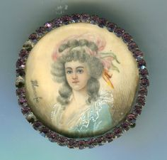 Antique 19th C Miniature Portait Painting French Two Sicilies Sgnd Brooch as Is | eBay