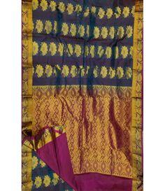Grey Handloom Pure Kanjeevaram Silk Saree