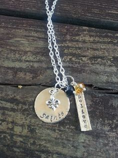 Hand Stamped Saints Believe Necklace with by MetallicKreations
