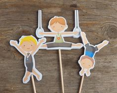Gymnastics Party - Set of 12 Assorted Boy Gymnast Cupcake Toppers by The Birthday House. $6.00, via Etsy.