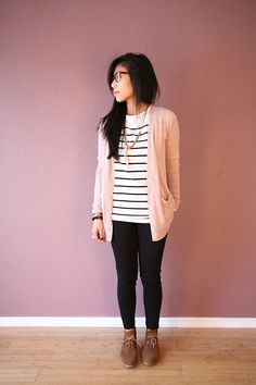 Pink cardigan + stripes. Hello Casual Friday.
