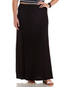 Plus Size Fold-Over Maxi Skirt: Charlotte Russe