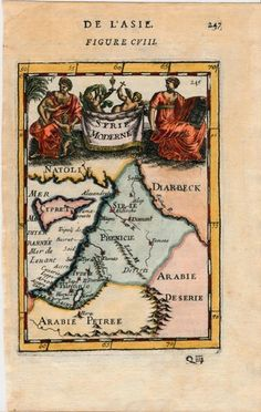 Syria Palestine Cyprus Middle East 1683 Mallet antique beautiful engraved map
