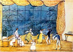 """""""Mrs. Hurst dancing"""" (older lady in cap dancing alone). So, the """"jumper"""" could transition to evening. Dated Sept. 1816, perhaps sleeves were good for a cool evening in an old unheated house."""