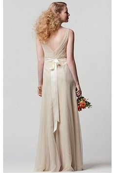 Affordable Long Sleeveless Zipper Chiffon A-line Bridesmaid Dresses