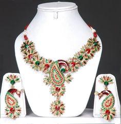 Peacock Fashion Jewelry | Peacock jewellery Set With Meenakari Work
