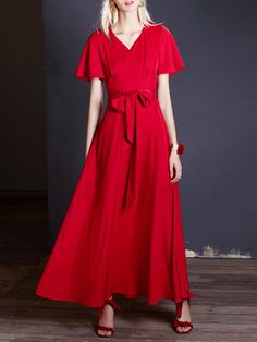 Red Polyester Evening Floral A-line Maxi Dress